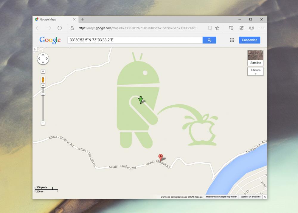 [Màj] Les développeurs de Google Maps ont de l'humour et n'aiment pas Apple