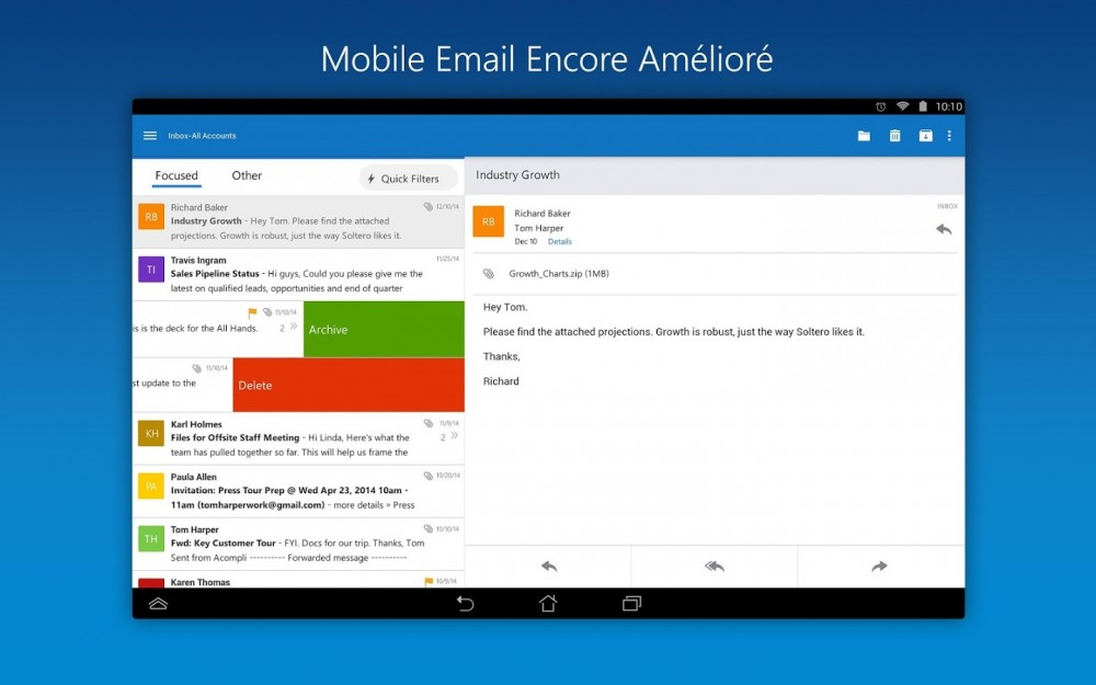 Outlook se met à jour sur Android