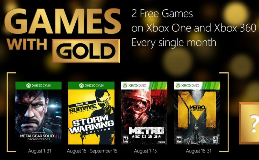 Games with Gold: Metal Gear Solid V: Ground Zeroes & Metro 2033 sont gratuits en Août