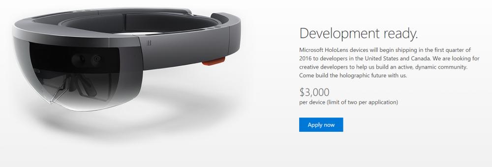Microsoft annonce HoloLens Development Edition: le SDK sera disponible pour 3000$