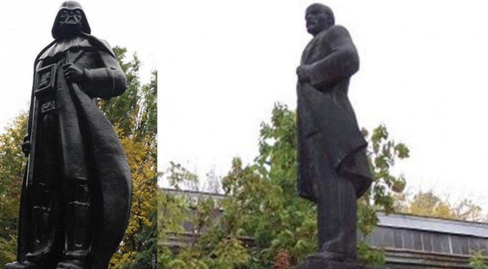 Insolite: une statue de Vladimir Lénine transformée en Dark Vador en Ukraine