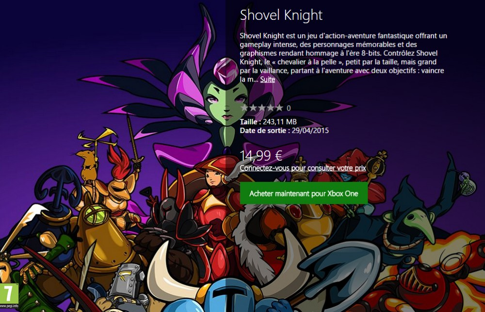 Shovel Knight est disponible sur Xbox One