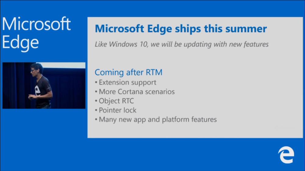 Microsoft Edge: les extensions arriveront après la sortie de Windows 10