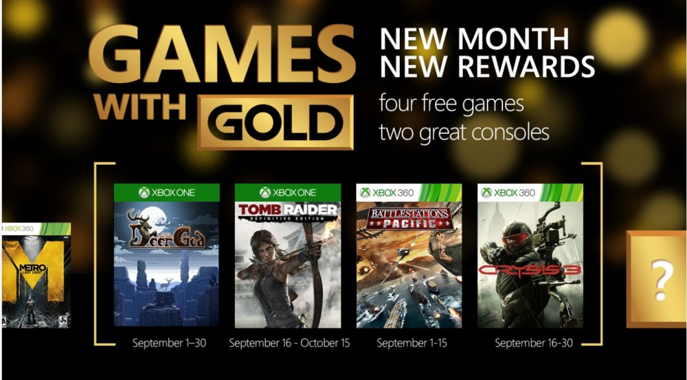 Games with Gold: 4 jeux gratuits en septembre pour Xbox dont Tomb Raider & Crysis 3