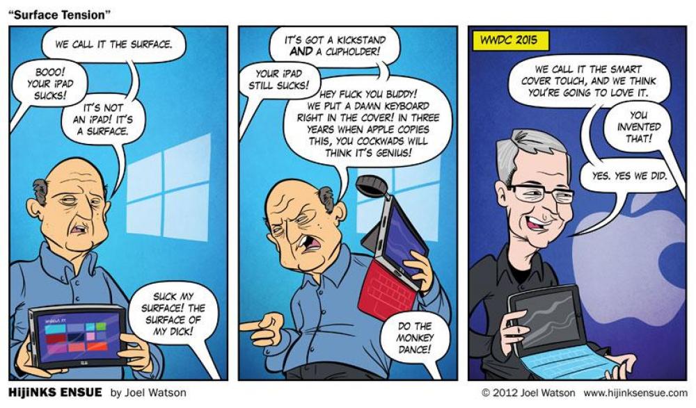 Un dessinateur avait prédit la copie de la Surface par Apple… il y a 3 ans!