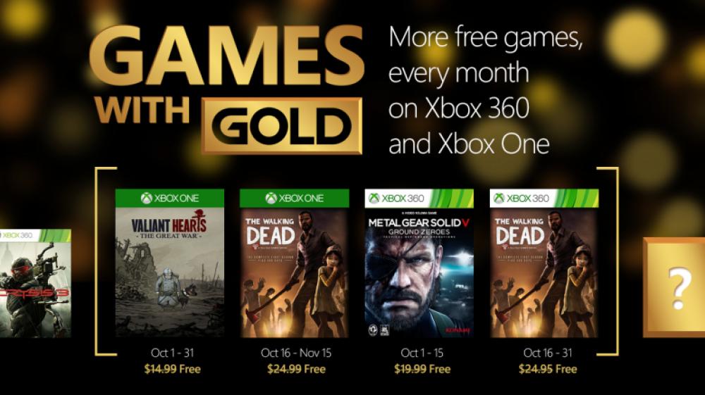 Games With Gold: 4 jeux Xbox gratuit en Octobre dont Walking Dead