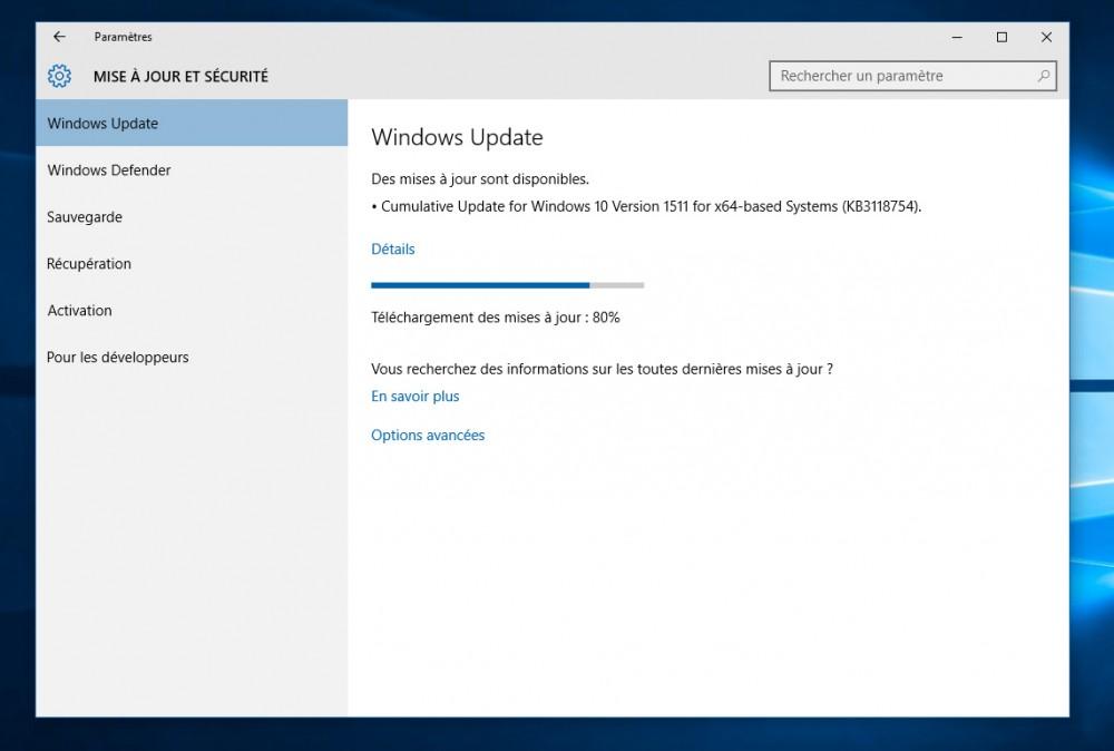 Microsoft livre la mise à jour Cumulative 1511 pour Windows 10