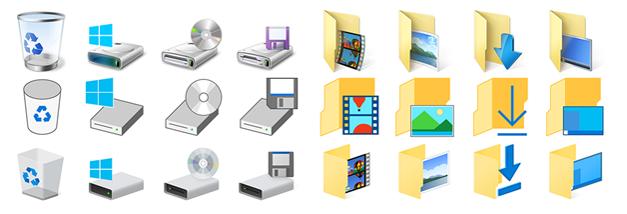 Evolution du design des icônes depuis Windows 8 (de haut en bas)