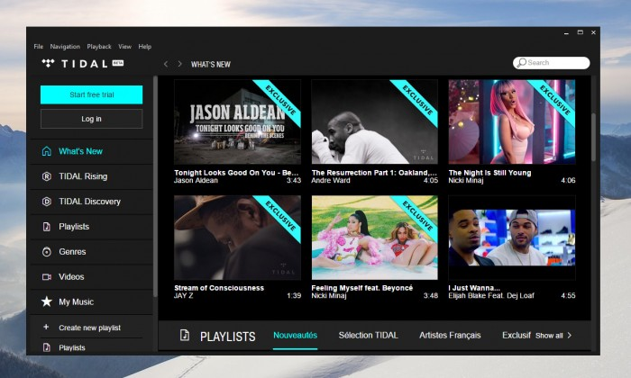 L'application Tidal sur Windows 10