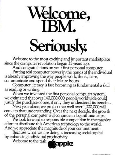 Communiqué de presse d'Apple destiné à l'arrivée d'IBM en 1981