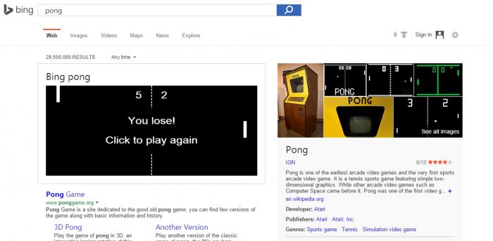Surprise: le jeu Pong est jouable sur la pages des résultats de Bing