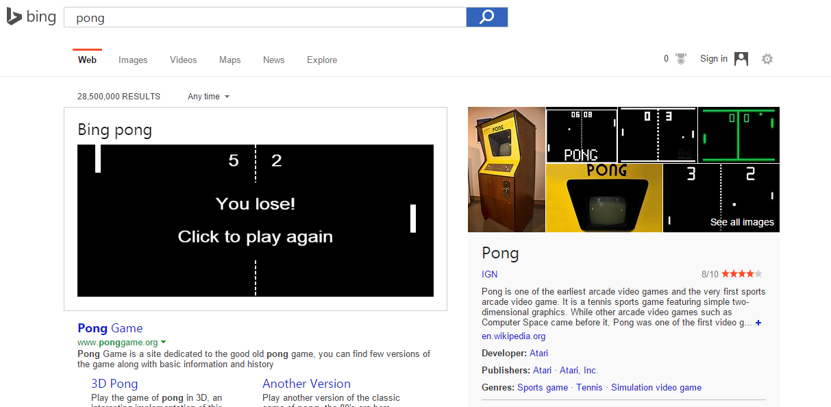 jouez à pong à partir de bing windowsfun