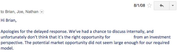 Extrait de la réponse d'un des investisseurs, en 2008