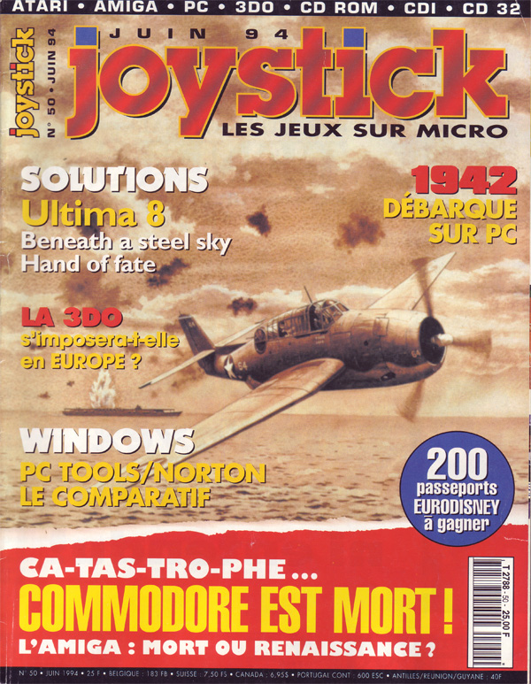 La Une du magazine Joystick annonçant la mort de Commodore (juin 1994)