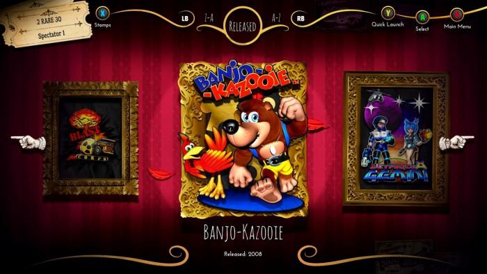 L'écran de sélection des jeux