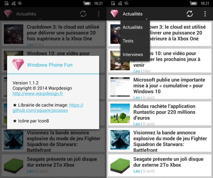 L'application Android Windows Fun fonctionne parfaitement sur Windows Phone grâce à Astoria
