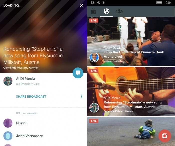 Periscope Android sur Windows 10 Mobile