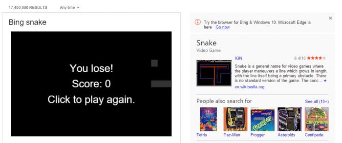 Le jeu du serpent, jouable à partir de la page de résultats de Bing