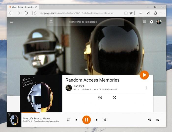 Play Music de Google se lance enfin sur Microsoft Edge