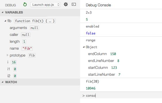 La nouvelle console permettant d'exécuter du JavaScript à l'intérieur de Code