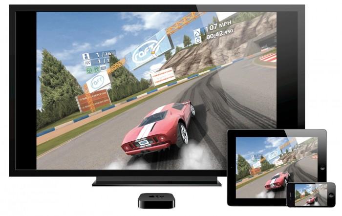 l'iPad peut être utilisée avec une Apple TV pour diffuser des jeux sur une télévision
