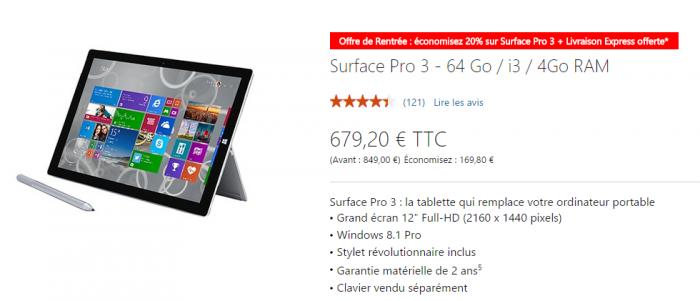 La Surface Pro 3 est disponible à partir de 679€ seulement