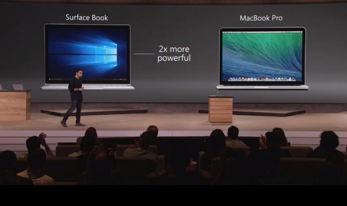 Le surface Book est annoncé deux fois plus rapide que le MacBook Pro d'Apple