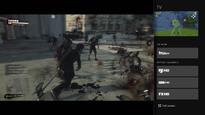 La Xbox One permet d'afficher simultanément un jeu et la télévision