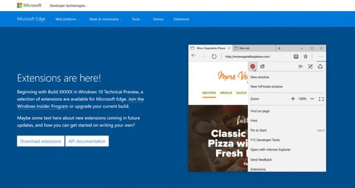 Ce site, annonçant la disponibilité des extensions Edge est apparu brièvement en ligne
