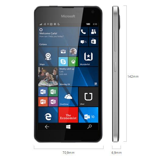 Le Lumia 650 est disponible en noir ou blanc