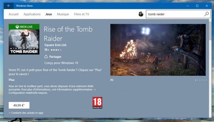Rise of the Tomb Raider: le 1er gros titre à sortir sur le Microsoft Store
