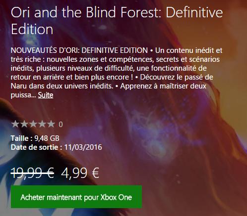Ori ne coûte que 4,99€ si vous possédez déjà le jeu original
