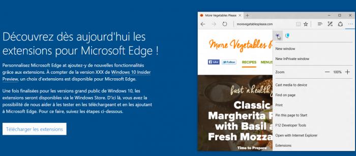 Le site web est présentant les extensions Microsoft Edge déjà en ligne!
