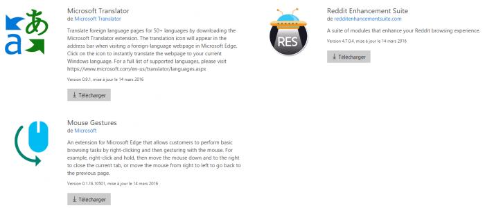 Microsoft Translator, Reddit Enhancement Suite, Mouse Gestures seront les premières extensions pour Microsoft Edge
