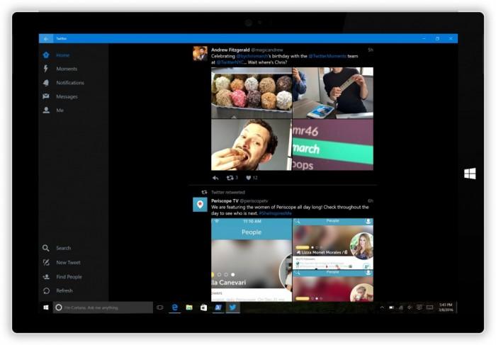 La dernière version de Twitter pour Windows 10 supporte le thème dark