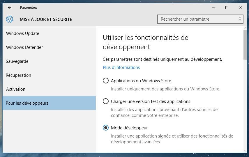 accéder mise a jour windows 10