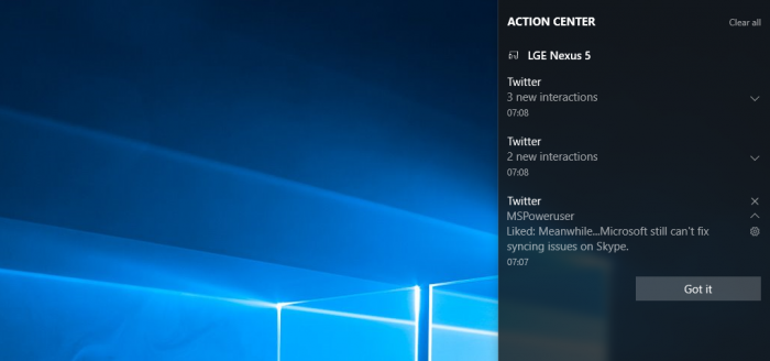 Vos notifications Android sur votre PC Windows 10 - Source: MSPowerUser