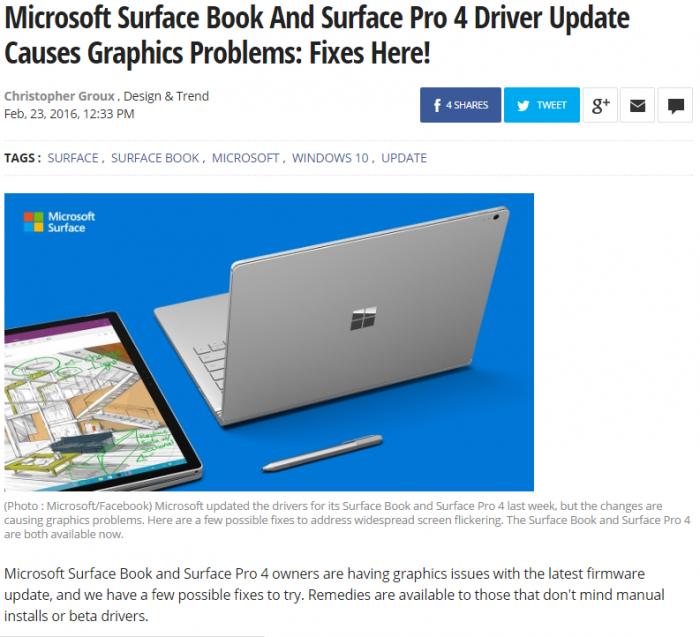 De nombreux problèmes liés aux pilotes graphiques du Surface Book