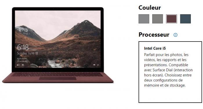 Le Surface Laptop peut être commandé en 4 couleurs différentes