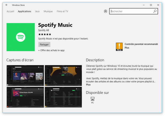 Spotify fait son apparition sur le Windows Store