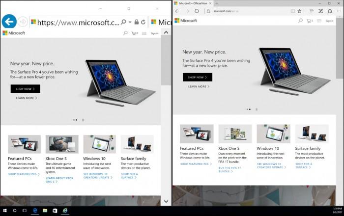 A gauche: Internet Explorer s'emmêle les pinceaux et la barre d'adresse est anormalement grande