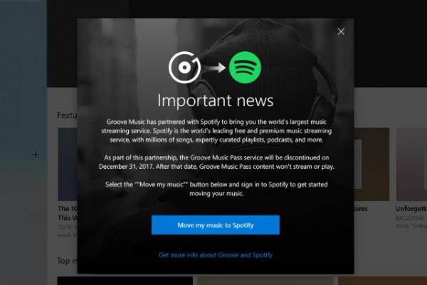 Les utilisateurs de Groove sont invités à migrer vers Spotify